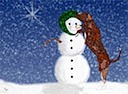 Houla and Snowman Christmas Card