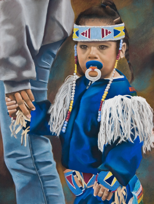 Pastel Painting of a Native American Toddler dressed in her finest Powwow gear